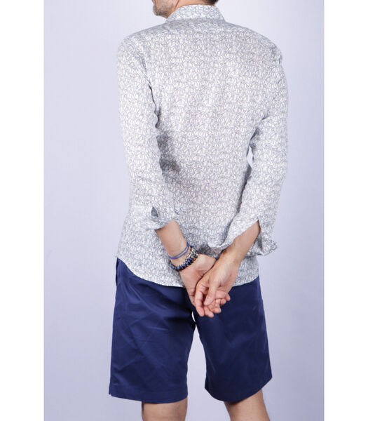 Overhemd linnen franse kraag motief