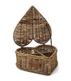 Rustic Rattan Heart Shape Tea Box image number 1