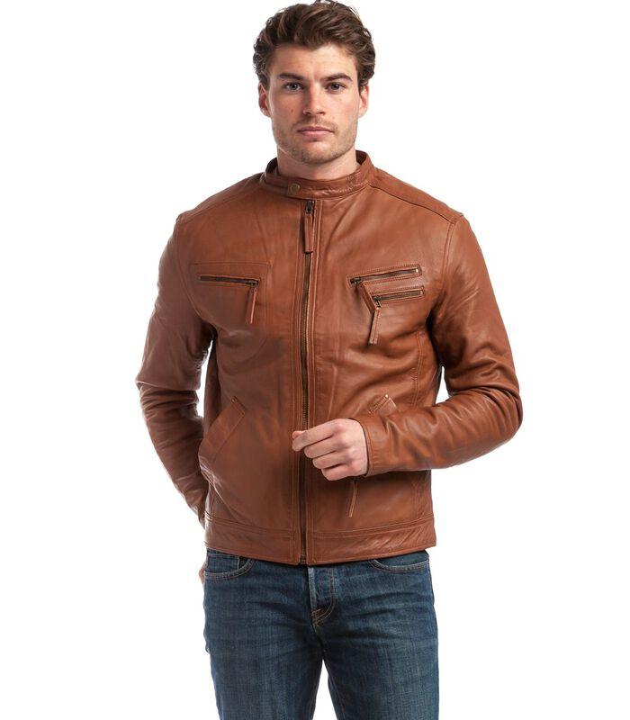 ALESSANDRO  jas in schapenleer biker stijl image number 2
