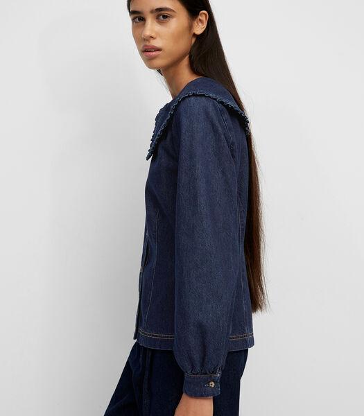 Denim blouse met statement van raw denim.