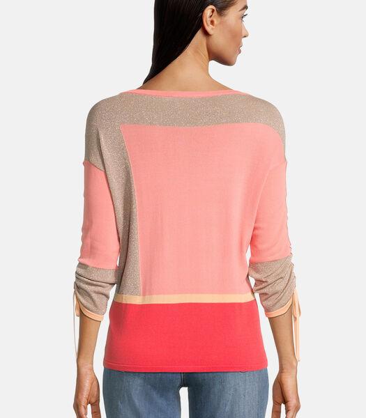 Fijngebreide trui met colour blocking