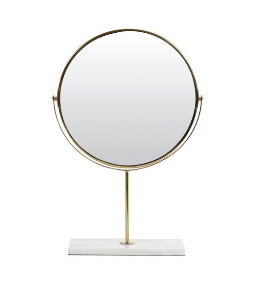Miroir sur pied 33x12,5x48 cm RIESCO marbre blanc-or