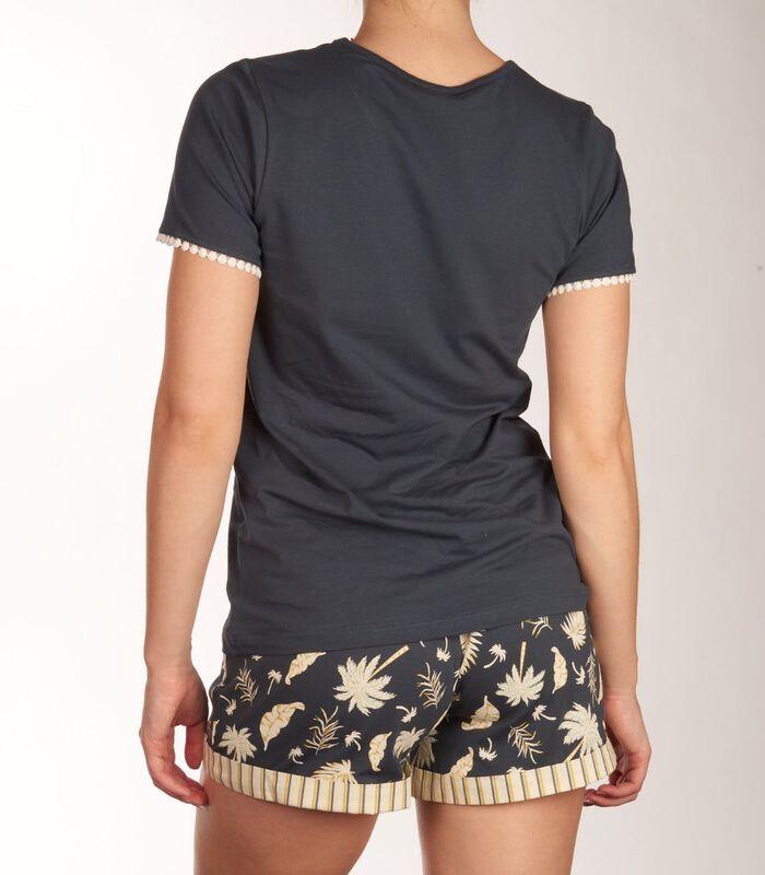 T-shirt ronde hals palm tree sleep d-44 image number 2