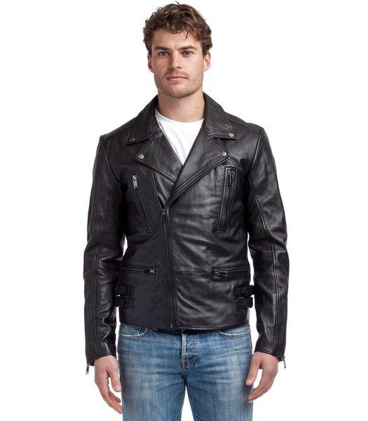 Anton jas in schapenleer biker stijl