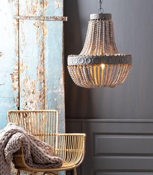 Lampe pendante LUNA - Perles Vieux Blanc - L