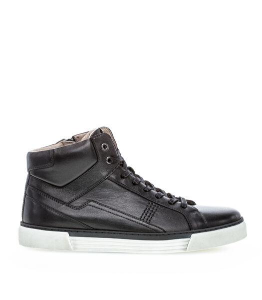 Sneakers plat glad leer