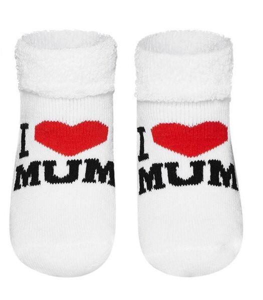 Chaussettes bébé en coton bouclette - I love Mom