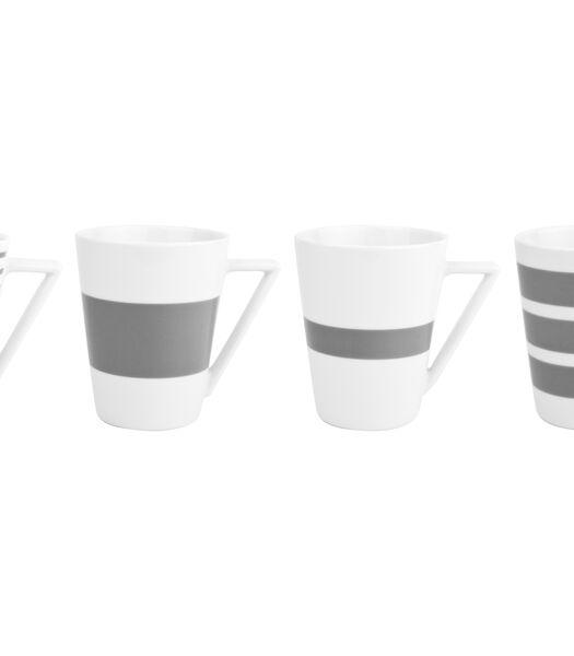 Beker 36cl grijs Stripes - (x4)