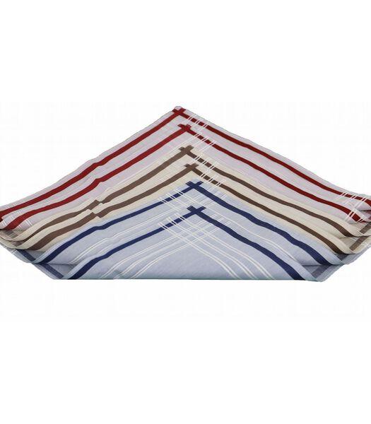 Set van 6 katoenen zakdoeken ROMAIN