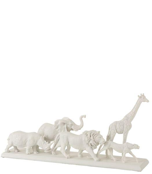 Dieren Safari Op Voet Poly Wit Large