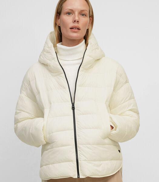 Gewatteerde jas in capestijl van gerecycled nylon