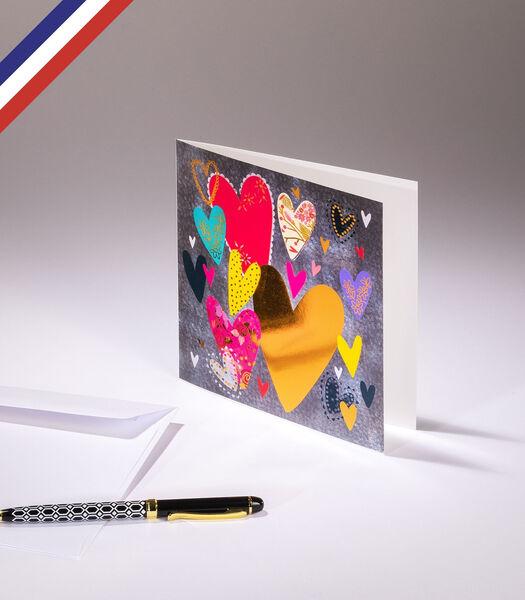 Dubbele kaart All you need is love - Meerkleurige harten