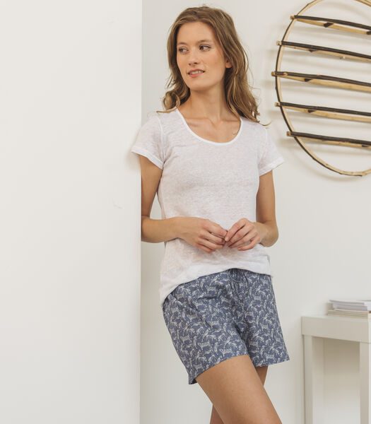 Katoenen homewear short met tijgerprint, ELODIE
