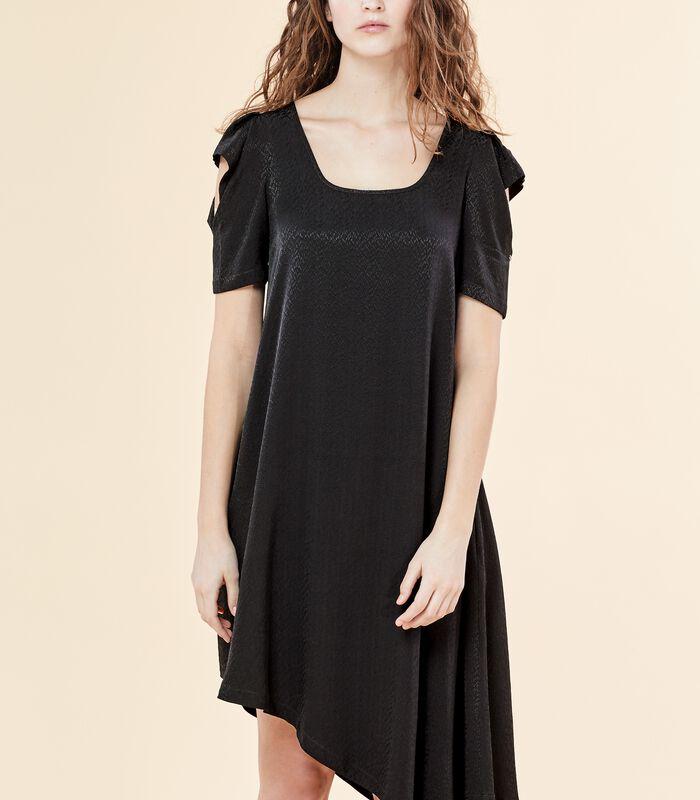 Asymmetrische zwarte jurk VIRGWOOLF in jacquard image number 2