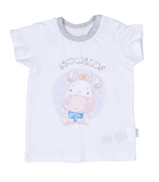 Baby t-shirt en broekje set in biokatoen, Melk