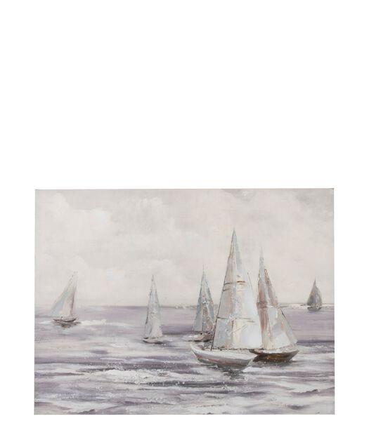 Tableau Voiliers Canevas Antique Blanc/Gris