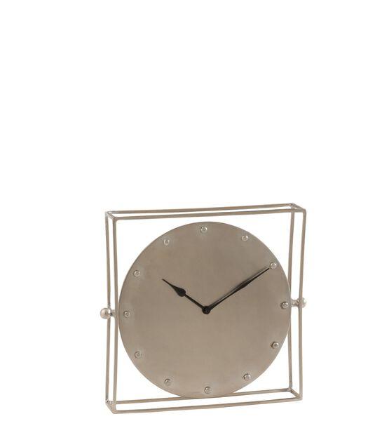 Horloge Carree Orientable Metal Argent Large