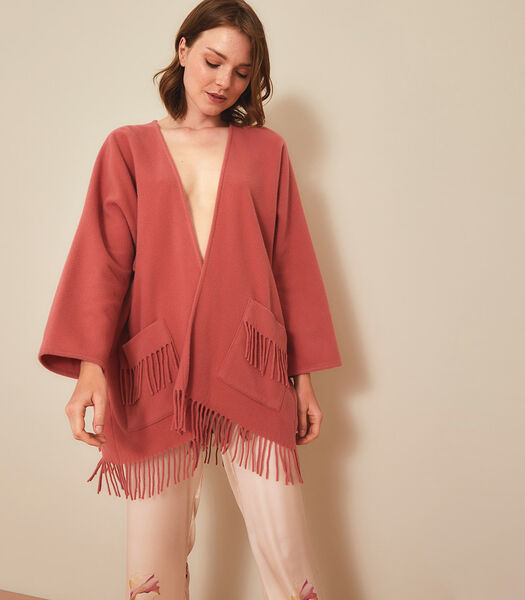 Homewear korte poncho wol