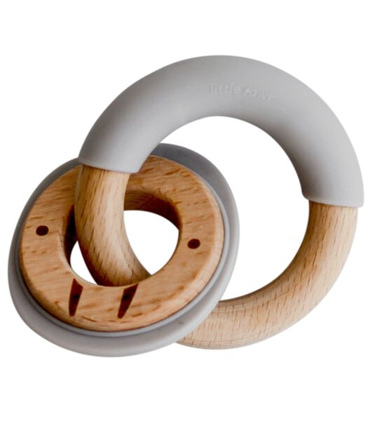 Dubbele bijtring gemaakt van hout en silicon
