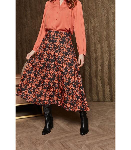 Soepelvallende rok in opvallend dessin met oranje/antrac