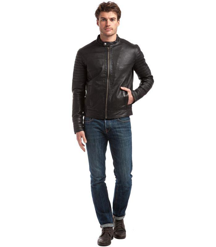 TRSTAN jas in schapenleer biker stijl image number 2