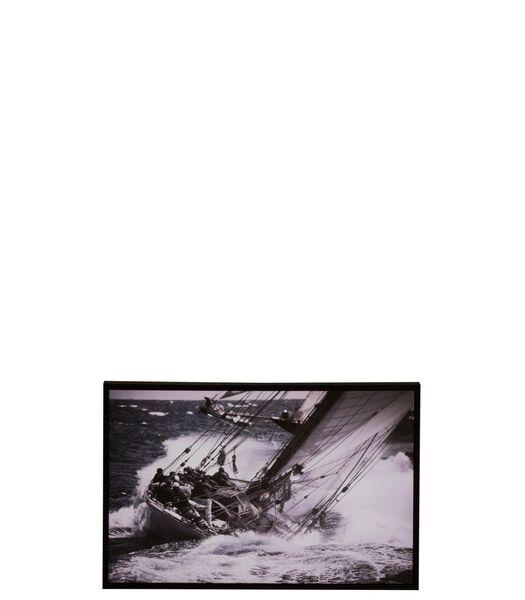Cadre Voilier Bois/Papier Noir/Blanc