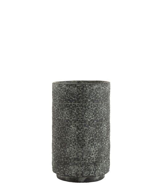 Cache-Pot Haut Fleurs En Relief Céramique Gris Large