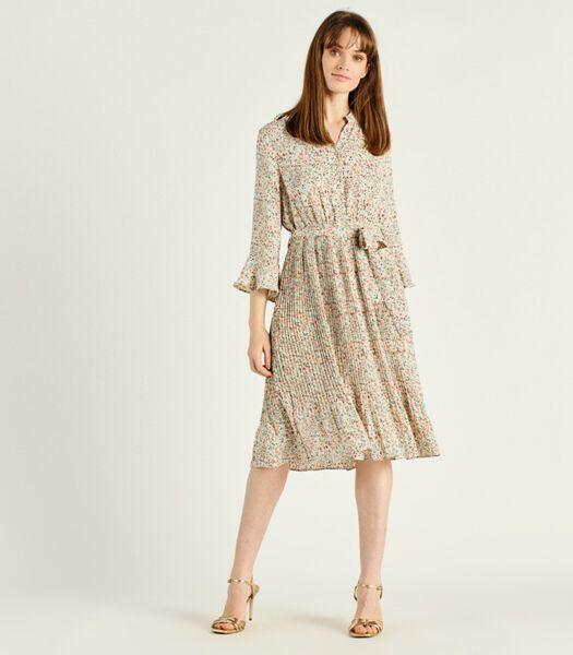 PIETRO jurk met bloemenprint en halflange mouwen