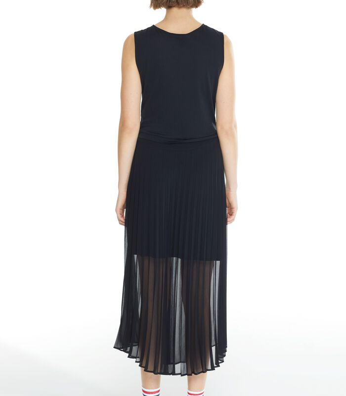 Zwarte lange jurk CONCILIANT in geplooide voile image number 3