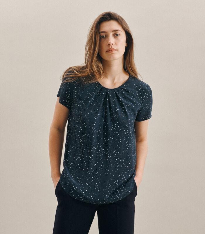 Shirtblouse Stippen Korte mouwen Ronde Hals image number 0