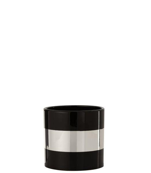 Cachepot Lignes Ceramique Noir/Argent Large