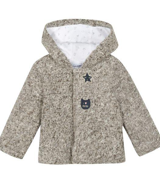 Manteau en maille bouclette à capuche