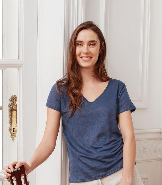T-shirt met V-hals in Frans linnen, CLOTHILDE