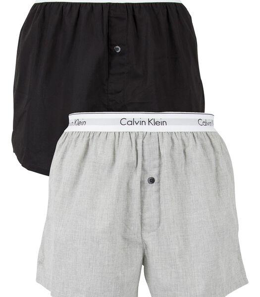 2-pack slim-fit geweven boxers met logo