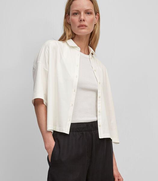 Jersey blouse met details van geweven popeline