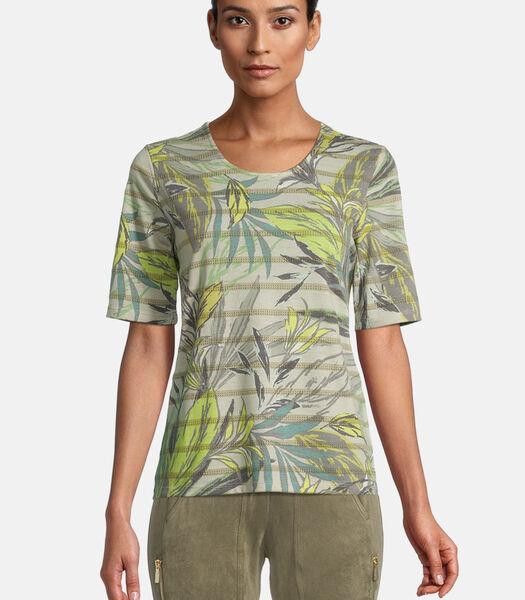 Gestreept shirt met bloemenprint