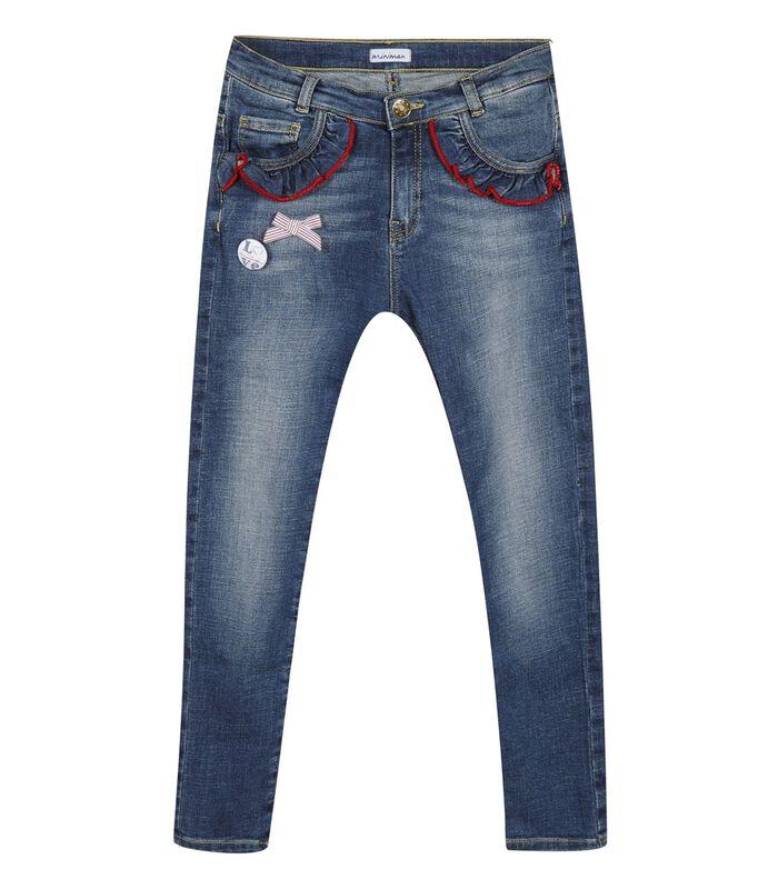 5 pocket slim jeans met ruches image number 0
