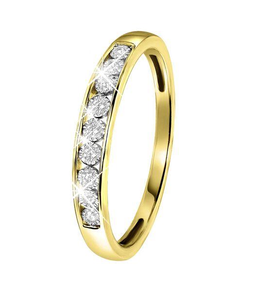 Bague à rail en or jaune 14 carats avec diamants