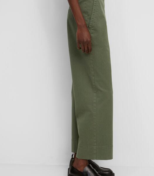 Wide leg broek van gewassen twill