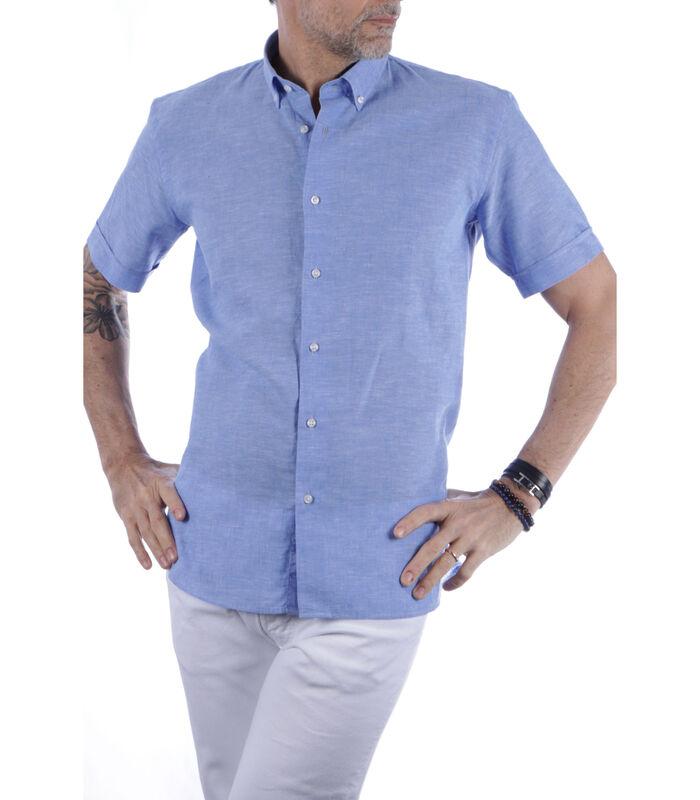 Overhemd linnen amerikaanse kraag effen patroon image number 0