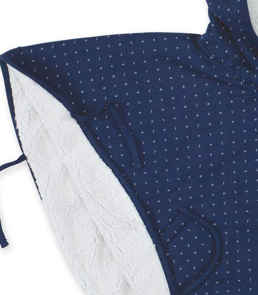 REISPONCHO 9-36m blauw geometrisch print teddy
