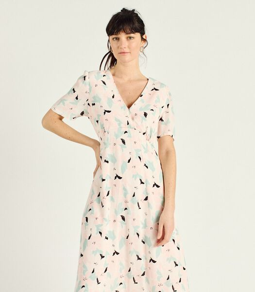 Lange jurk met bloemenprint V-hals RICCARDA