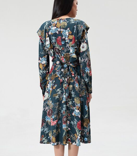 Bohemien midi-jurk met volants en bloemenprint