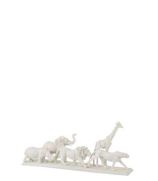 Dieren Safari Op Voet Poly Wit Small