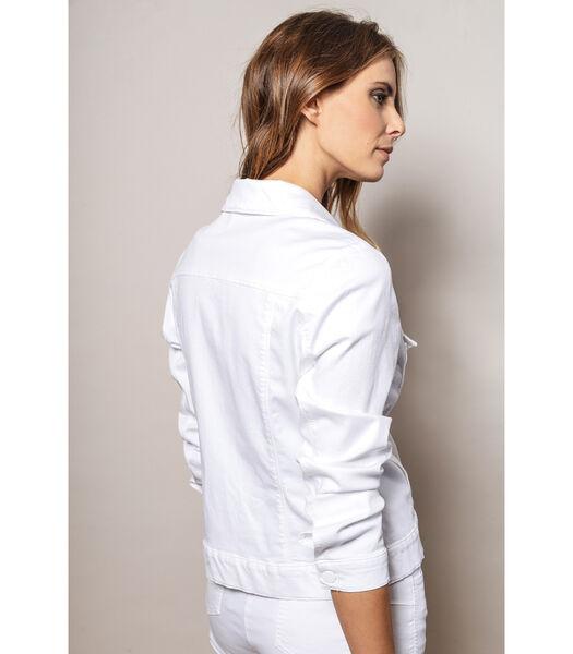 Wit katoenen jasje in denimlook