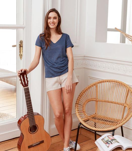 Korte homewear zuiver Frans linnen, LUCE