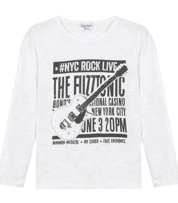 T-shirt met lange mouwen en rockmotief image number 0