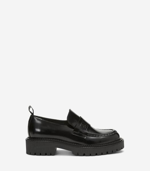 Loafers van glanzend geborsteld kalfsleer