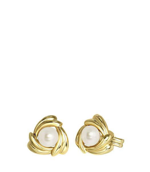 Boucles d'oreilles en or 14 carats, perles et zircons.