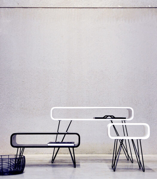 Metro End Table blanc/ pieds noir